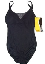 SHAPEMAKER Black Silver Body Slimming Swimsuit - 34C