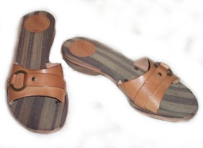 FRYE Leather & Wood Casual Slip On Sandals - Womens 7
