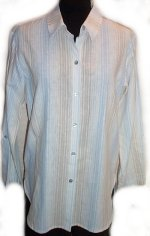 COLDWATER CREEK Linen Striped Shirt - S
