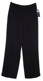 CHARTER CLUB Black Lined Pinstripe Dress Pants - Size 2P