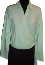 TOMMY HILFIGER Lightweight Cotton Wrap Crossover Blouse - 10