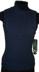 RALPH LAUREN Chunky Knit Cowl Neck Sleeveless Sweater-Small