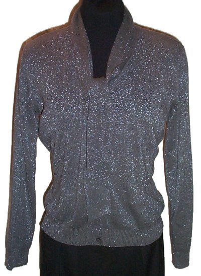 JOSEPH A. Silver Metallic SILK Cardigan Sweater - Misses/Jrs XL - BRAND NEW
