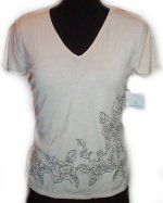 LIZ CLAIBORNE Short Sleeve Knit Embroidered Sweater - S