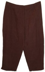 CHARTER CLUB Brown Lined Silk Linen Cropped Pants Capris - Size 20W