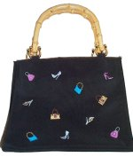Bamboo Handle Handbag with Embroidered Shoes & Purses