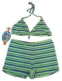 MYSTIC BAY Boy Shorts & String Bikini Top 2 Piece Bikini Swimsuit - Misses/Jrs 9-10 - BRAND NEW!
