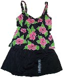 JANTZEN Hawaiian Themed 2 Piece Tankini with Skirted Bottom Swimsuit - Misses 10 - BRAND NEW!