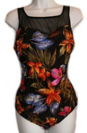 SIRENA CONCEPTS Beautiful 1 Pc Tropical Print with Sheer Neckline Bathing Suit/Swimsuit - Misses 12 - NEW!