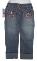 ANGELS Beaded Hipster Stretch Capris Jeans Pants - 5