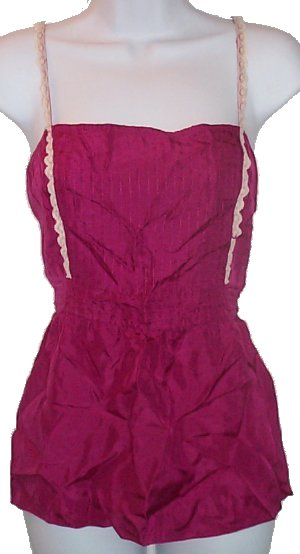OLD NAVY 100% Silk Lace Fuchsia Camisole Top - Large