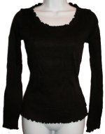 CALVIN KLEIN Ribbed Knit Ruffled Edge Top - Small