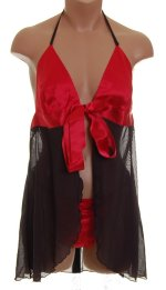 FAMOUS CATALOG Black & Red Babydoll Thong Set - L