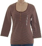 JONES NEW YORK JNY Henley Striped Top - Med