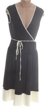 EVAN PICONE Black Cream Stretch Jersey Sleeveless Dress - Size 4