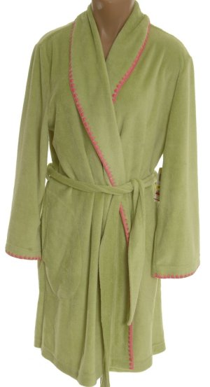 CHARTER CLUB Plush Fleece Pistachio & Pink Bathrobe - Misses Large