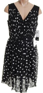 ADRIANNA PAPELL 100% Silk Black Polka Dot V Crossover Front Dress - Size 8P,12