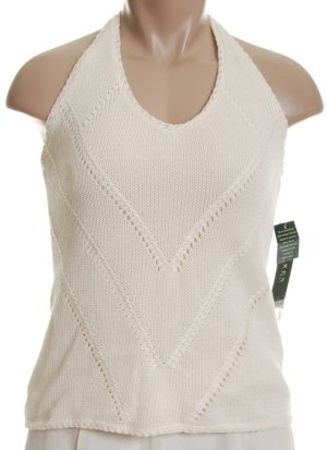 RALPH LAUREN Lauren Lined Linen/Cotton Knit Halter Top Sweater - Large