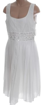 ADRIANNA PAPELL White Sequined Pleated Lined Dress - 12P