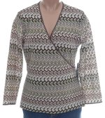 JONES NEW YORK Crossover Front Textured Knit Top - Misses M