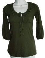 TIMING Peasant Cotton Knit 3/4 Sleeve Top - Jrs Small, Medium