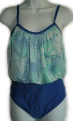 SEASIDE Blue Floral Blouson Top 1 pc Swimsuit - Misses 12 - BRAND NEW