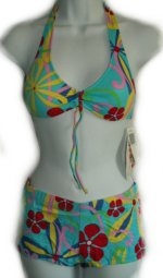 HOT COLES Retro Flower Power Boy Shorts & Halter Top Bikini - Small