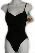 SHAPE & SLIM by Newport News 1 Piece Rusched Front Swimsuit - 8 Tall
