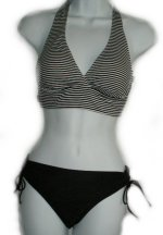 ANNE COLE LOCKER Black Striped Halter Bikini  - Size S