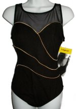 ROBBY LEN Longitute 1 Pc Black Slimming Swimsuit - Misses 10 - BRAND NEW