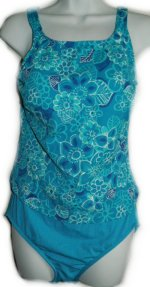 MAXINE of HOLLYWOOD Blue Floral Faux Tankini 1 Piece Swimsuit - Misses 12 - BRAND NEW