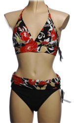 BE CREATIVE 2 Piece Black Floral Bikini Swimsuit - Size 10