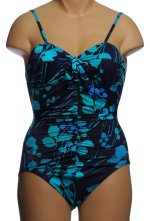 IT FIGURES! Tummy Thinner 1 Piece Tropical Print Swimsuit - Size 8