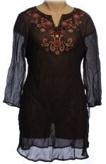 STYLE & CO. Sheer Black Crinkle Ethnic Themed Swimsuit Cover Up Dress - Small - BRAND NEW