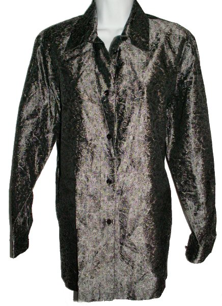 BIANCA NYGARD Muted Silver Patterned Metallic Tunic Blouse - Misses 12