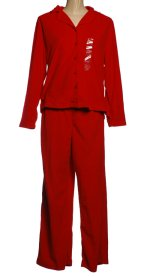 CHARTER CLUB Red Microfleece 2 Piece Long Pants Pajamas - Misses Large