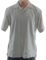 ALFANI Textured Button Front Short Sleeve Shirt - Mens Medium