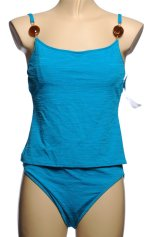 CHRISTINA 2 Piece Turquoise Textured Tankini Swimsuit - Misses 12 - BRAND NEW