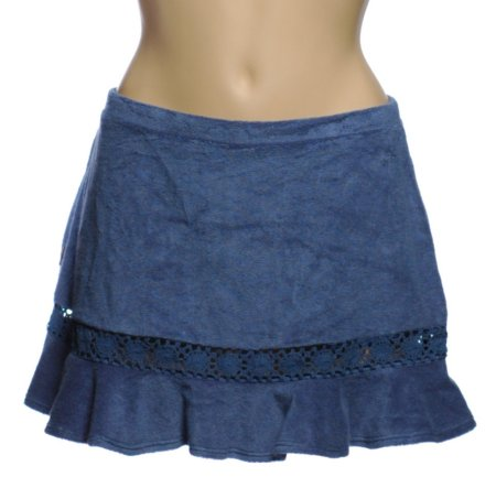 ANNE COLE LOCKER Blue Terry Cloth SWIM SKIRT Cover Up - XL