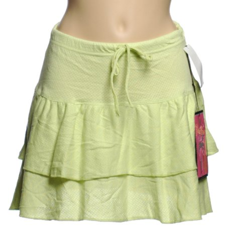 PURE PARADISE Lime Green Pointelle Ruffled Swimsuit Separates - SWIM SKIRT Cover UP - Misses L - BRAND NEW