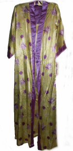 Lime & Purple Floral Satin Charmeuse Long Gown Robe Set - Med