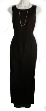 ADRIANNA PAPELL Black Linen/Rayon Sleeveless Long Sheath Dress - Misses 8 - NEW
