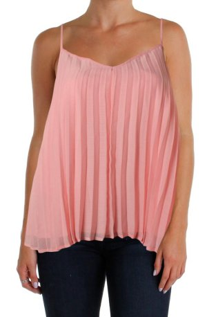 BAR III Blush Pink Pleated Lined Blouse Top - M