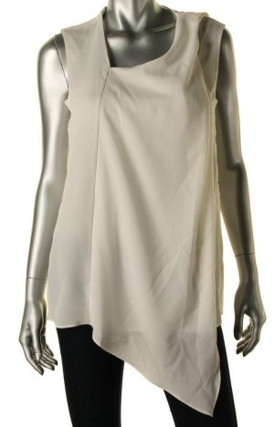 ANNE KLEIN Off White Sleeveless Tie Blouse - 8