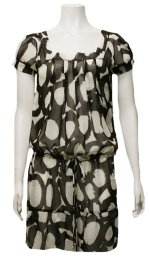 Retro Print Sheer Chiffon Tie Waist Swimsuit Coverup Dress - Brown