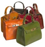 """Cenzo"" Italian Tucano Leather Tote Handbag - Red, Brown, Olive, Orange, Green, Black Leather"