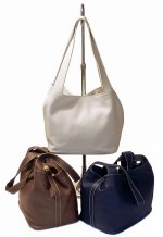 KELSEY Leather Tote Handbag - Blue, Brown, White