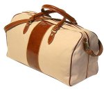"""Venezia"" Italian Tuscano Leather Duffle Bag - Canvas & Leather"