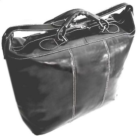 Piana Italian Leather Tote Travel Bag - Black