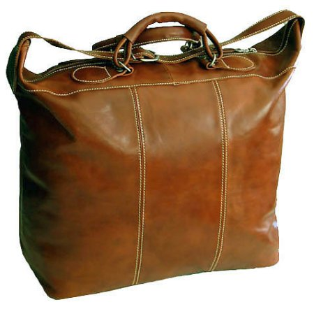 Piana Italian Leather Tote Travel Bag - Olive Brown